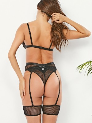 Boudoir Black 3-Piece Bodystocking Sheer Mesh Nightwear