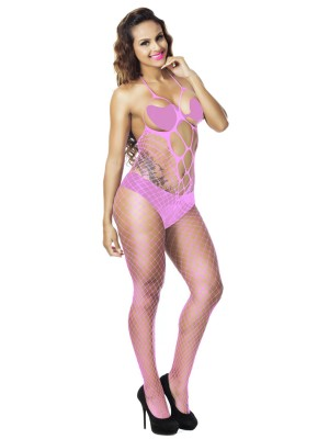 Inexpensive Pink Solid Color Open Back Bodystocking Slim
