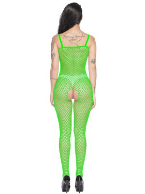 Refreshing Green Bodystocking Hollow Out Slender Strap Lingerie