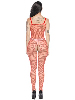 Dramatic Red Fishnet Bodystocking High Streich Sling For Woman