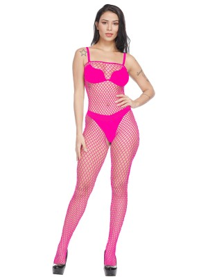 Rose Red Square Collar Open Crotch Bodystocking All Over Close Fit