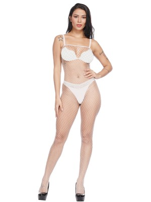 Amorous White Hollow Out Solid Color Bodystocking Standard Fit