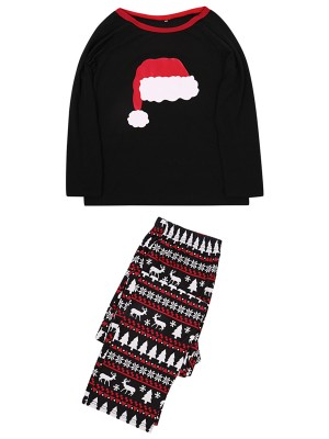 Christmas Hat Print Colorblock Home Wear For Dad Fashion Style