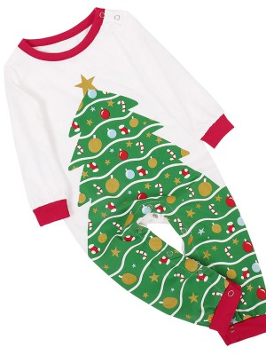Baby Romper Christmas Tree Pattern Full Sleeve Casual Comfort