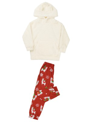 Hooded Plush Sweatshirt High Rise Pants For Kids Loose Fitting