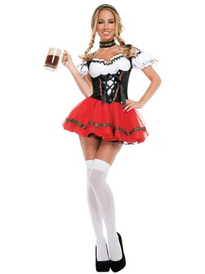 Unbranded Black Cold Shoulder Lace-Up Oktoberfest Costumes Trendy Style