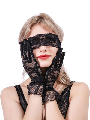 Provocative Black 3 Piece Set Lace Eye Mask With Gloves Mature Female