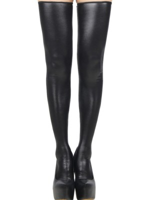 Euphoric Black PU Leather Solid Color Stockings Zip Female's High Grade