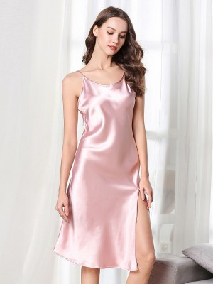 Endearing Pink Slender Strap Sleepwear Solid Color For Bedtime