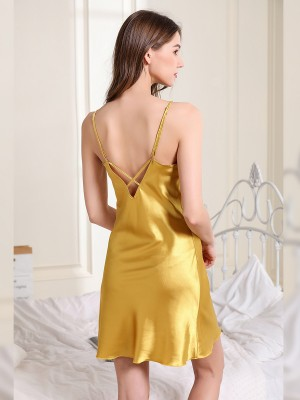 Sweaty Yellow V-Neck Sleepwear Solid Color Strap Slimming Figure