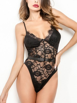 Explicitly Chosen Black Teddy Mesh Lace Slender Strap Backless