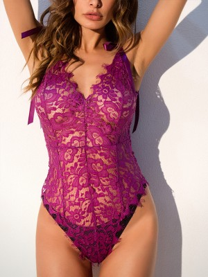 Slutty Purple Solid Color Sheer Mesh Teddy Exotic Cutie
