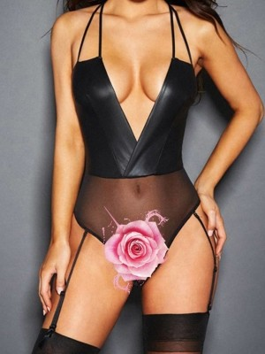 Fascinating Black Halter Collar Deep-V Teddy Leather Allover Comfortable