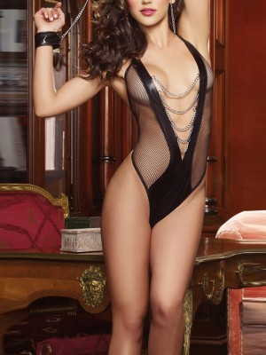 Lady Black Backless Teddy Plunge Collar Mesh Garment