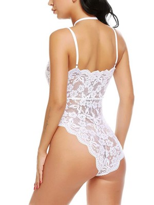 Ecstasy White Lace Teddy Plunge Collar High Cut High Grade Woman