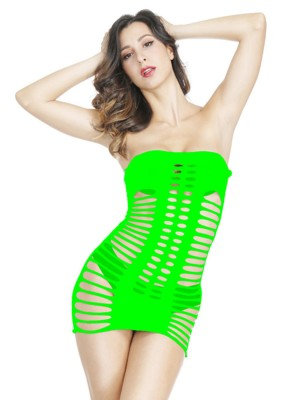 Perfection Green Solid Color Bandeau Teddy Hollow Out Cool Fashion