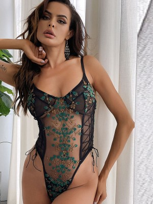 Green Sheer Teddy Embroidered Lace Lingerie High Quality
