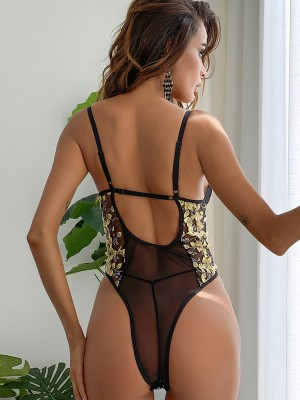 Yellow Embroidered Floral Print Teddy Lace Ultra Sexy