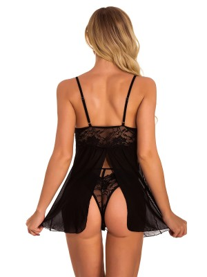 Flirty Black Split Back Babydoll Set Sheer Mesh Slim Fit