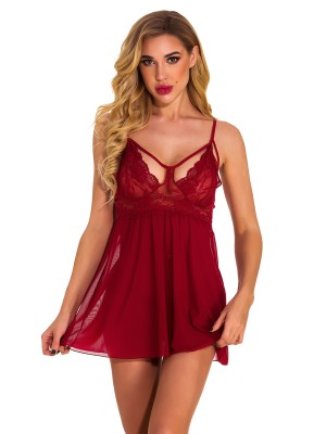 Cheeky Wine Red 2 Pieces Babydoll Open Back Mesh Cool Fashion