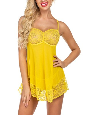 Striking Yellow Curved Hem Babydoll Backless Slender Strap Hot Trendy