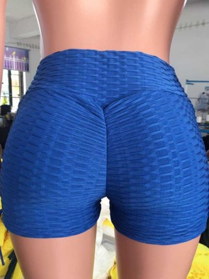 Blue Drawstring Running Shorts Solid Color