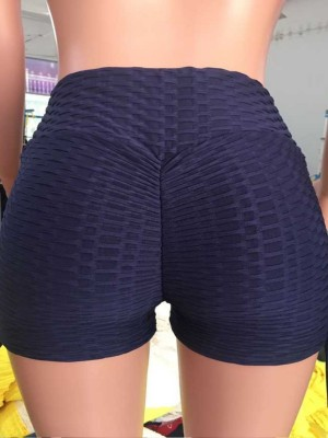 Navy Blue Sports Shorts Solid Color Wide Waistband