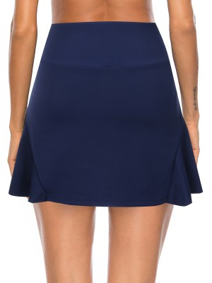 Dark Blue Inner Pocket Side Pleated Sports Skirt For Fitness