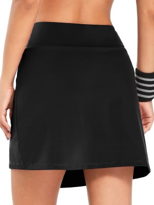 Elegant Black High Waist Tennis Skirt With Pocket Sportswear