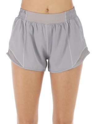 Compression Gray Mini Length Athletic Shorts Patchwork Women's Essentials
