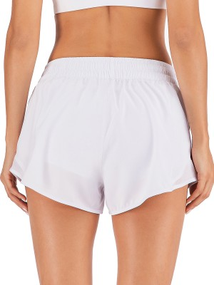 Swimming White Elastic Waist Solid Color Sports Short Elasticity