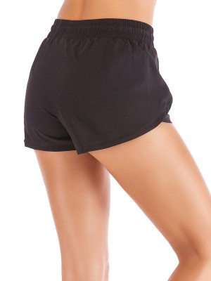 Lovely Black Tulip Hem Solid Color Running Shorts Sweat Absorption
