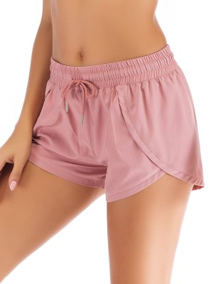 Fashionable Light Pink Drawstring Sports Short Moisture-Wicking