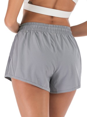 Classic Gray Double-Layer Side Pocket Athletic Shorts For Women