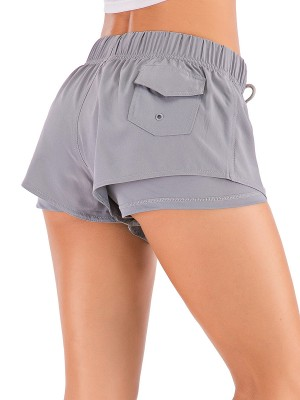 Durable Gray Pocket Double Layers Athletic Shorts Slim Fit