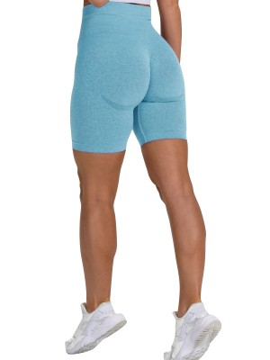 Astonishing Lake Blue Solid Color High Waist Gym Shorts Form Fitting