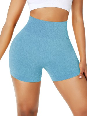 Lake Blue Solid Color High Waist Seamless Shorts Gym Form Fitting