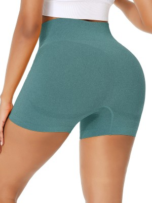 Absorbing Dark Green Athletic Shorts Seamless Wide Waistband Best Workout