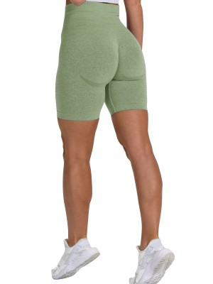 Absorbing Grass Green Wide Waistband Sports Shorts High Rise Close-Fitting