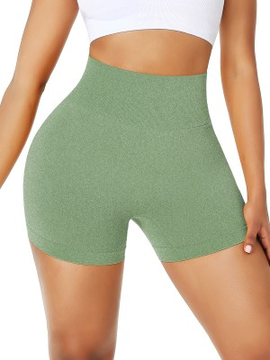 Grass Green Wide Waistband Sports Shorts High Rise Close-Fitting