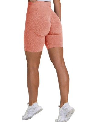 Fashionable Orange Running Shorts High Rise Thigh Length For Female Runner