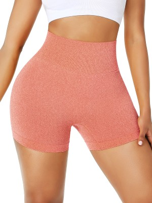 Orange High Rise Athletic Shorts Mid-Thigh Length For Female Runner