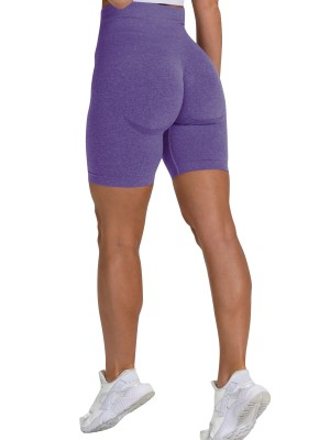 Brilliant Dark Purple Sports Shorts High Waist Solid Color Fashion Forward