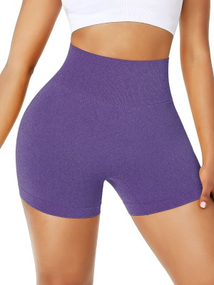 Dark Purple Cheap Workout Shorts High Waist Solid Color Comfort Fit