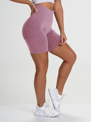 Favorite Light Purple Athletic Shorts Solid Color High Rise For Workout