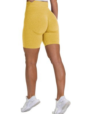 Fitted Yellow Thigh Length Seamless Athletic Shorts Fashionable Design