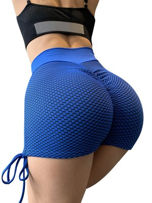 Wonderful Blue High Waist Ruched Butt Yoga Shorts Casual Look