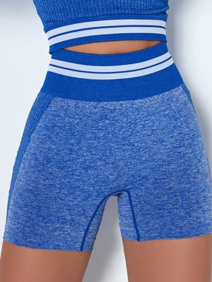 Blue Colorblock Stripe Sports Shorts Seamless For Shopping
