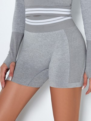 Light Gray High Waist Stripe Seamless Biker Shorts Elasticity