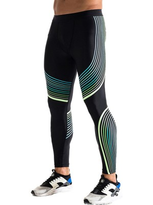 Green Big Size Streamer Printing Leggings Preventing Sweat